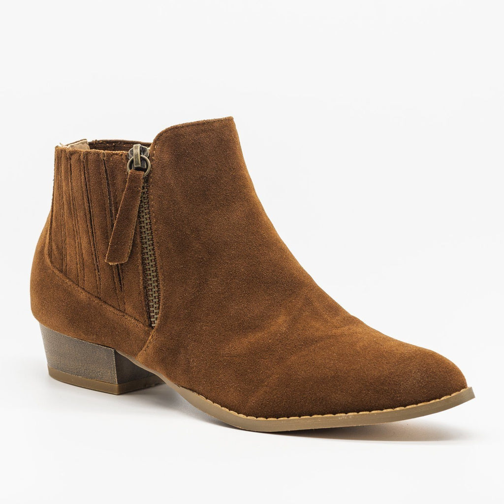 Womens Beautiful Pointed Toe Chelsea Boots - AMS Shoes - Mocha / 5