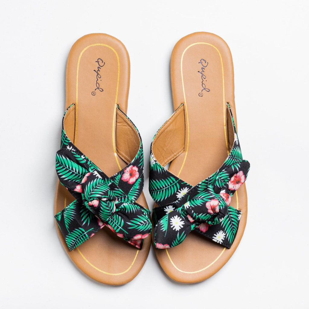 Womens Beautiful Printed Bow Slip-On Sandals - Qupid Shoes - Black Green / 5