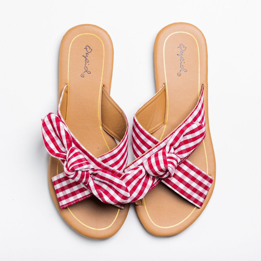 Womens Beautiful Printed Bow Slip-On Sandals - Qupid Shoes - Red White / 5