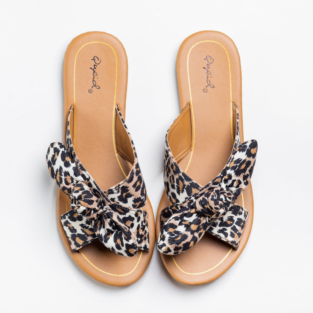 Womens Beautiful Printed Bow Slip-On Sandals - Qupid Shoes - Leopard / 5