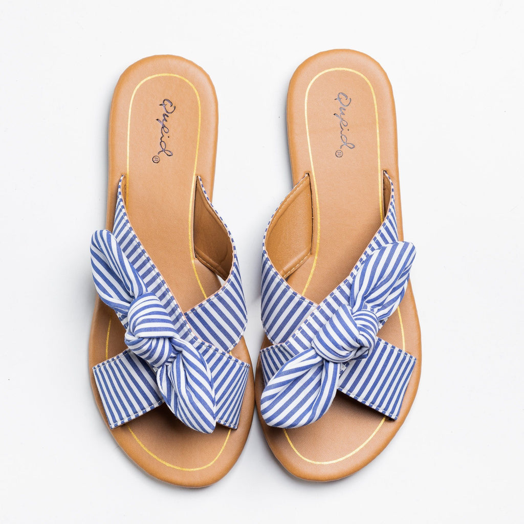 Womens Beautiful Printed Bow Slip-On Sandals - Qupid Shoes - Blue White / 5