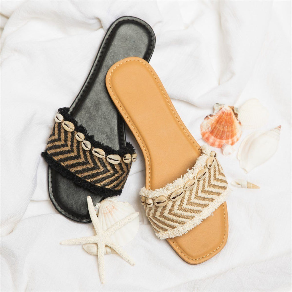 Womens Beautiful Puka Shell Slip-On Sandals - Bamboo Shoes