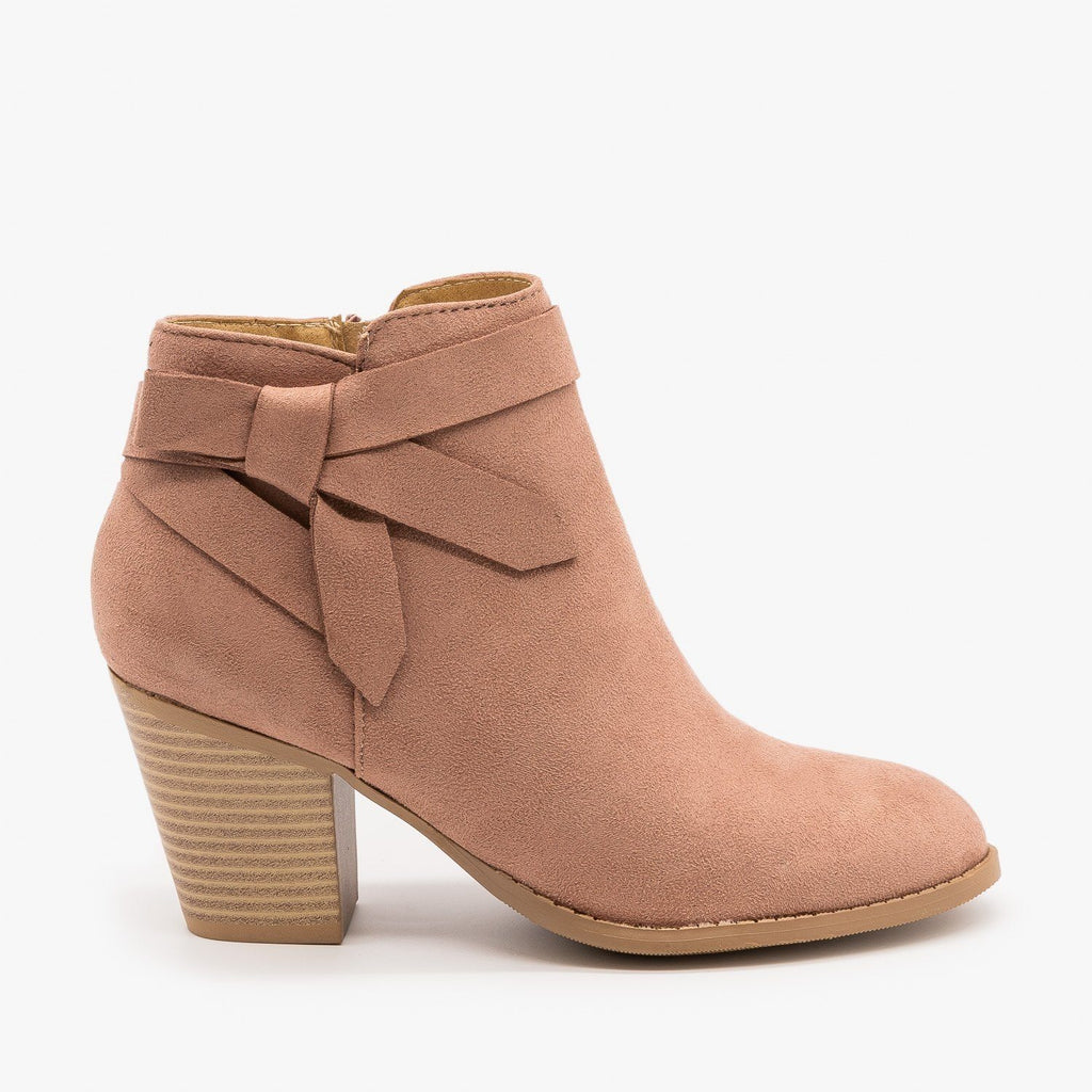 Womens Beautiful Side Knot Bootie - City Classified Shoes - Dark Blush / 5