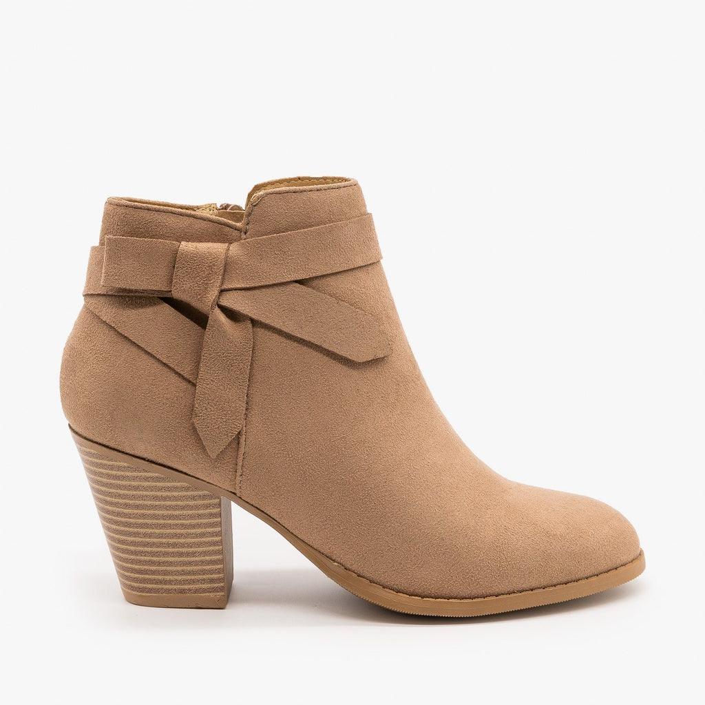 Womens Beautiful Side Knot Bootie - City Classified Shoes - Taupe / 5
