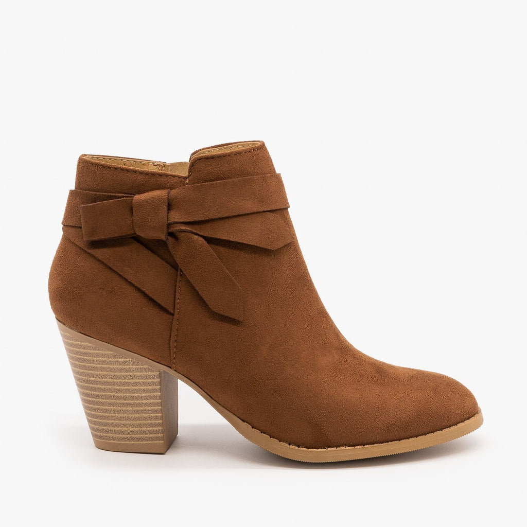 Womens Beautiful Side Knot Bootie - City Classified Shoes - Cognac / 5