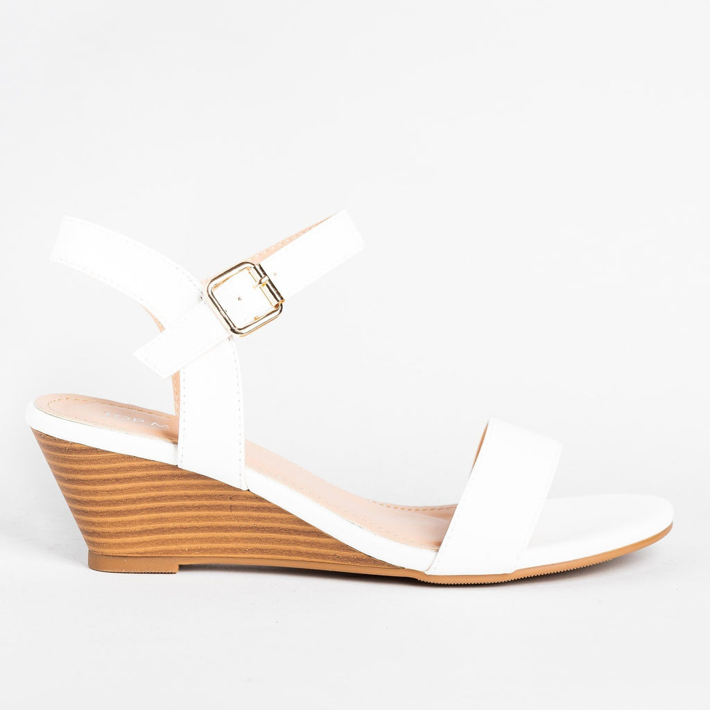 Womens Beautiful Stacked Sandal Wedges - Top Moda - White / 5