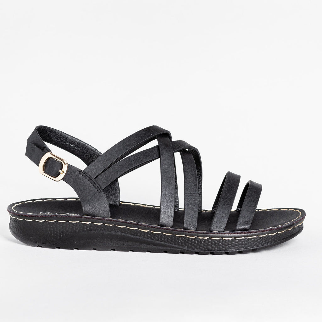 Womens Beautiful Strappy Sandals - Forever - Black / 5