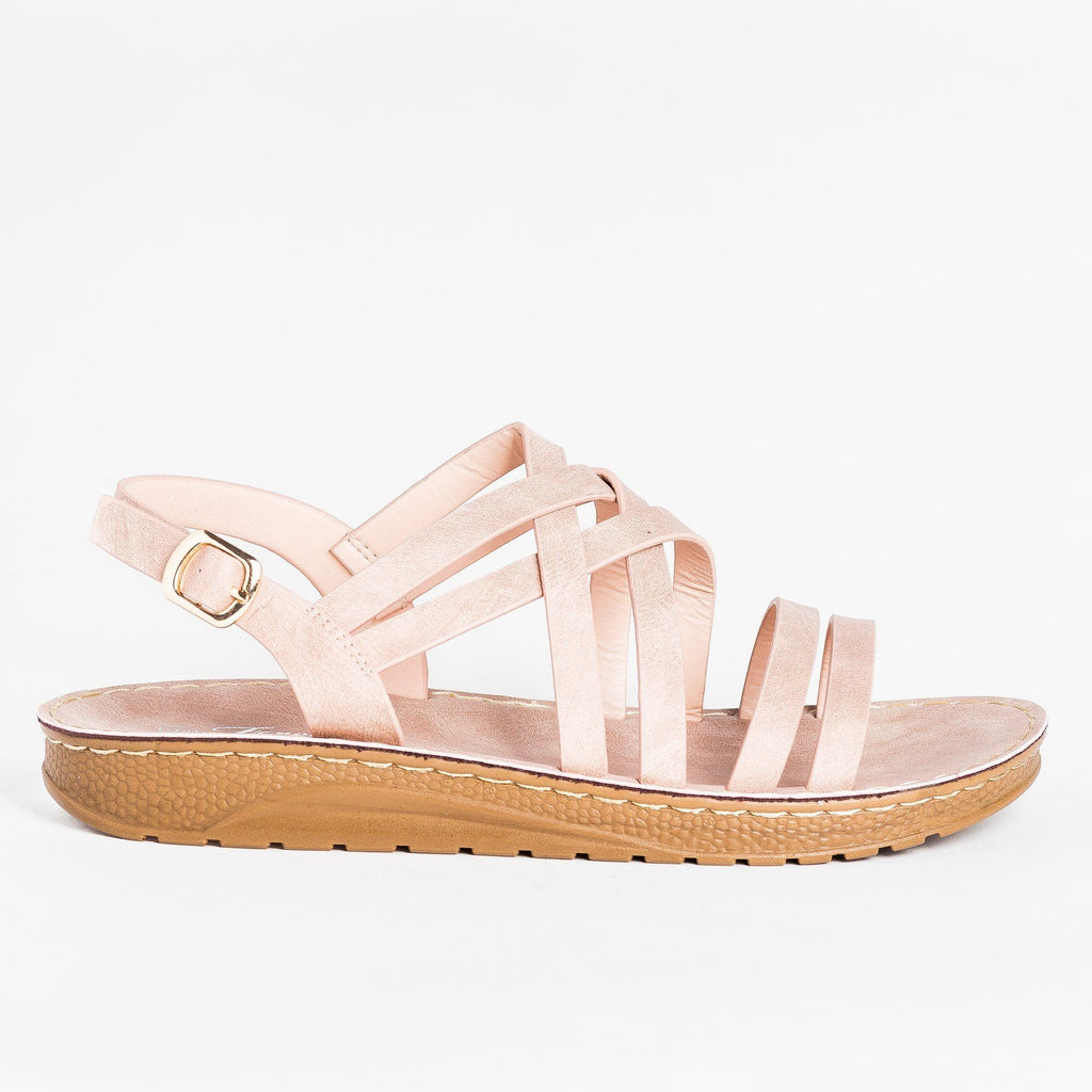 Womens Beautiful Strappy Sandals - Forever - Dusty Pink / 5
