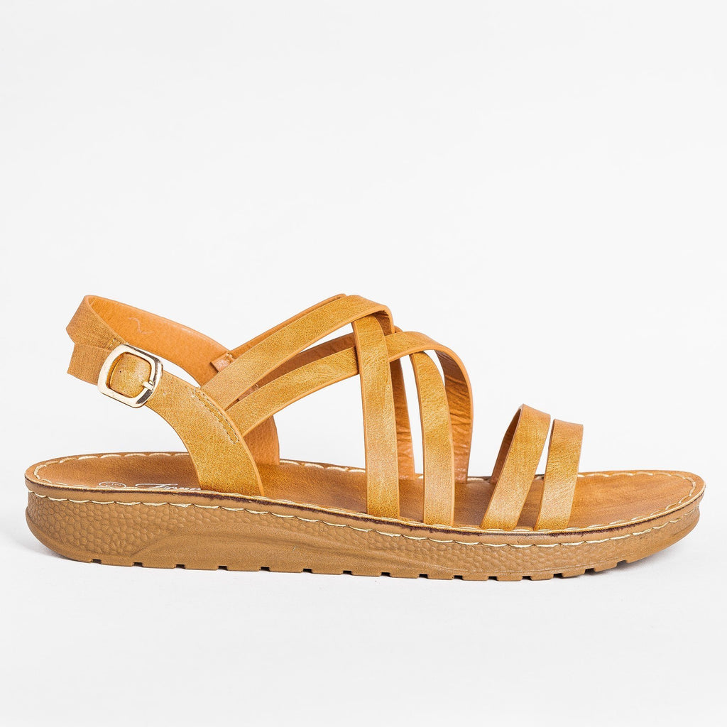 Womens Beautiful Strappy Sandals - Forever - Tan / 5
