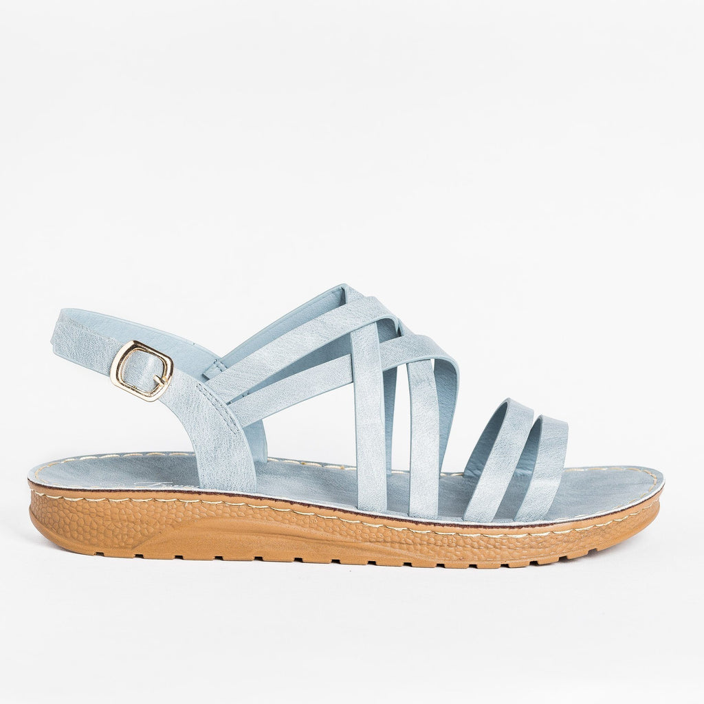 Womens Beautiful Strappy Sandals - Forever - Light Blue / 5