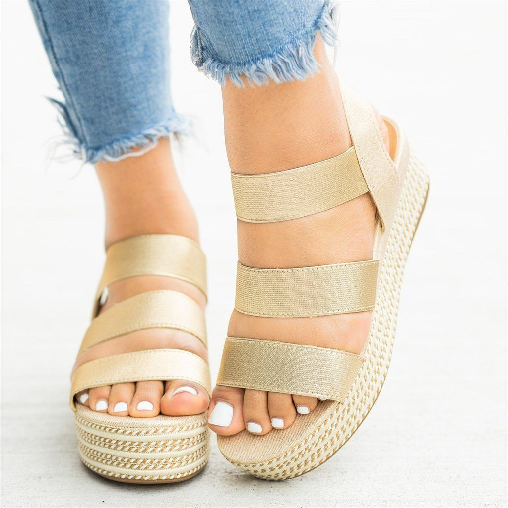 Womens Beautiful Triple Strap Espadrille Wedges - Bamboo Shoes