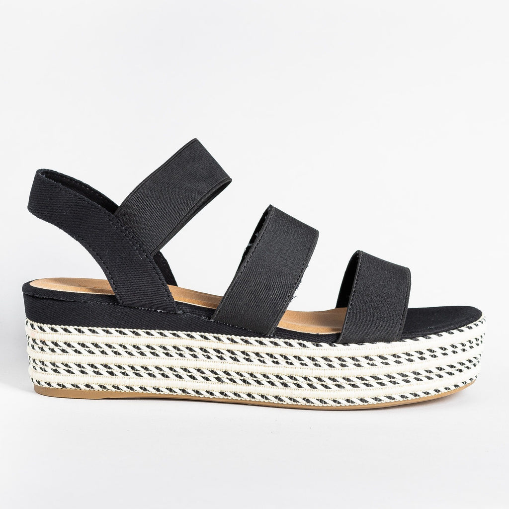 Womens Beautiful Triple Strap Espadrille Wedges - Bamboo Shoes - Black / 5