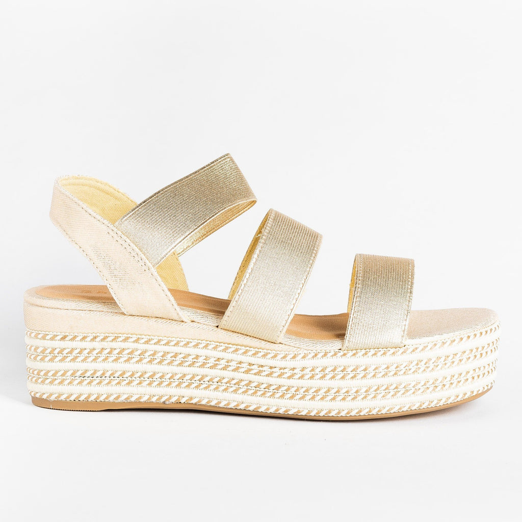 Womens Beautiful Triple Strap Espadrille Wedges - Bamboo Shoes - Gold / 5