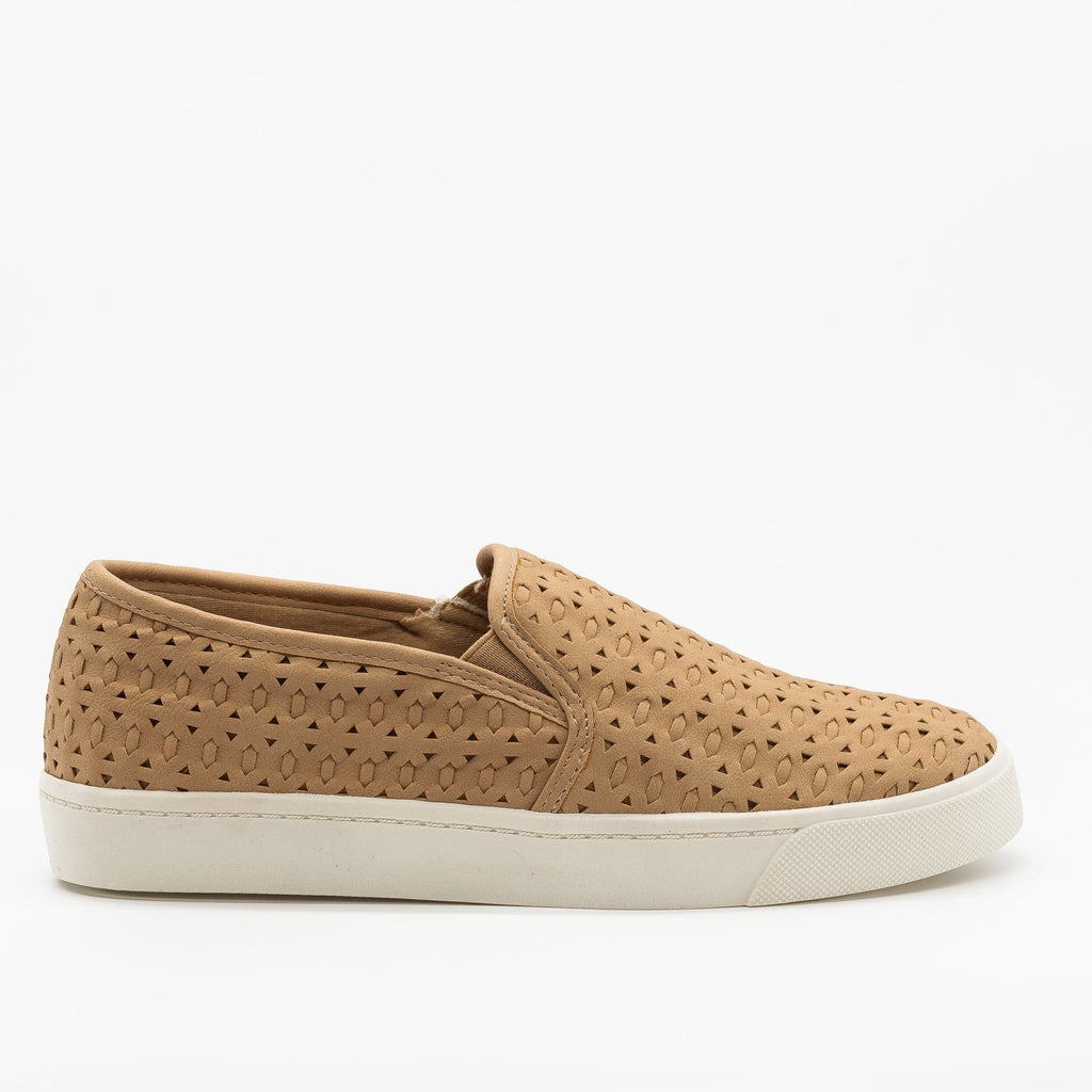 Womens Beautiful Woven Laser Cut Slip-On Sneakers - Soda Shoes - Natural / 5