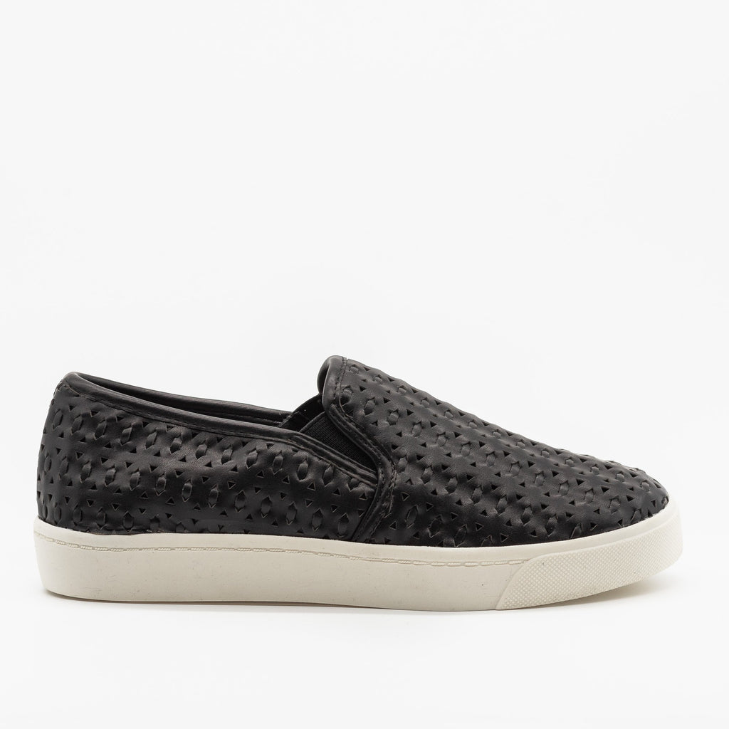 Womens Beautiful Woven Laser Cut Slip-On Sneakers - Soda Shoes - Black / 5
