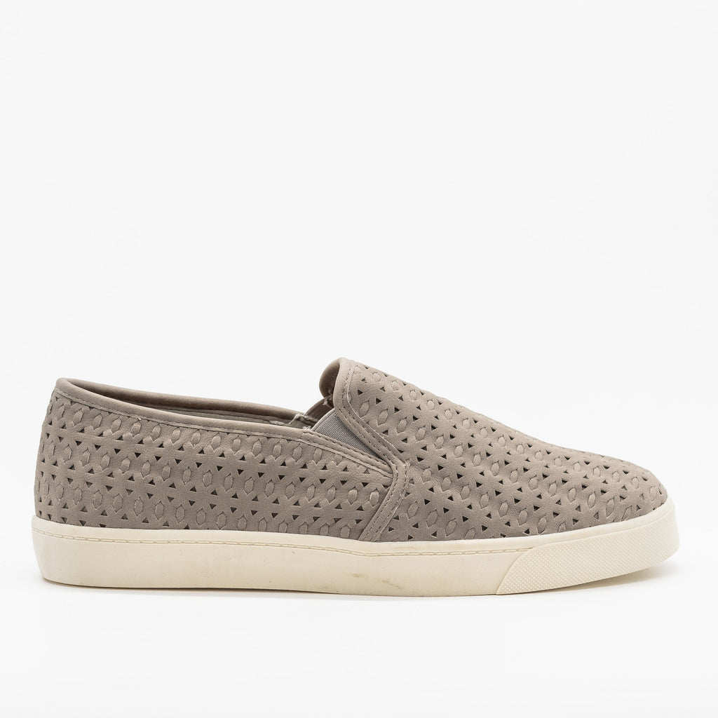 Womens Beautiful Woven Laser Cut Slip-On Sneakers - Soda Shoes - Gray / 5