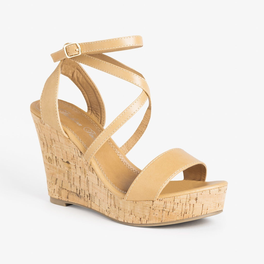 Womens Beautiful Wraparound Criss Cross Wedges - Fashion Focus - Natural / 5
