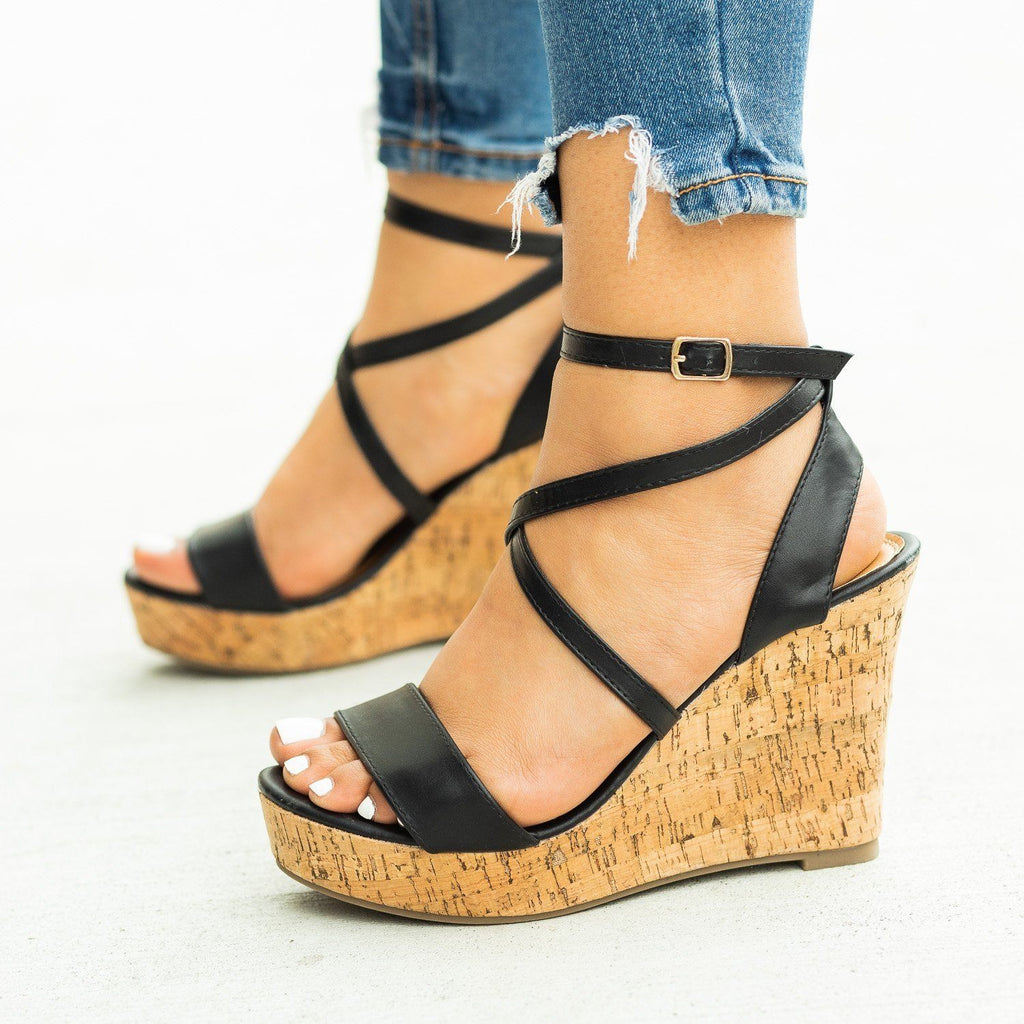 Womens Beautiful Wraparound Criss Cross Wedges - Fashion Focus
