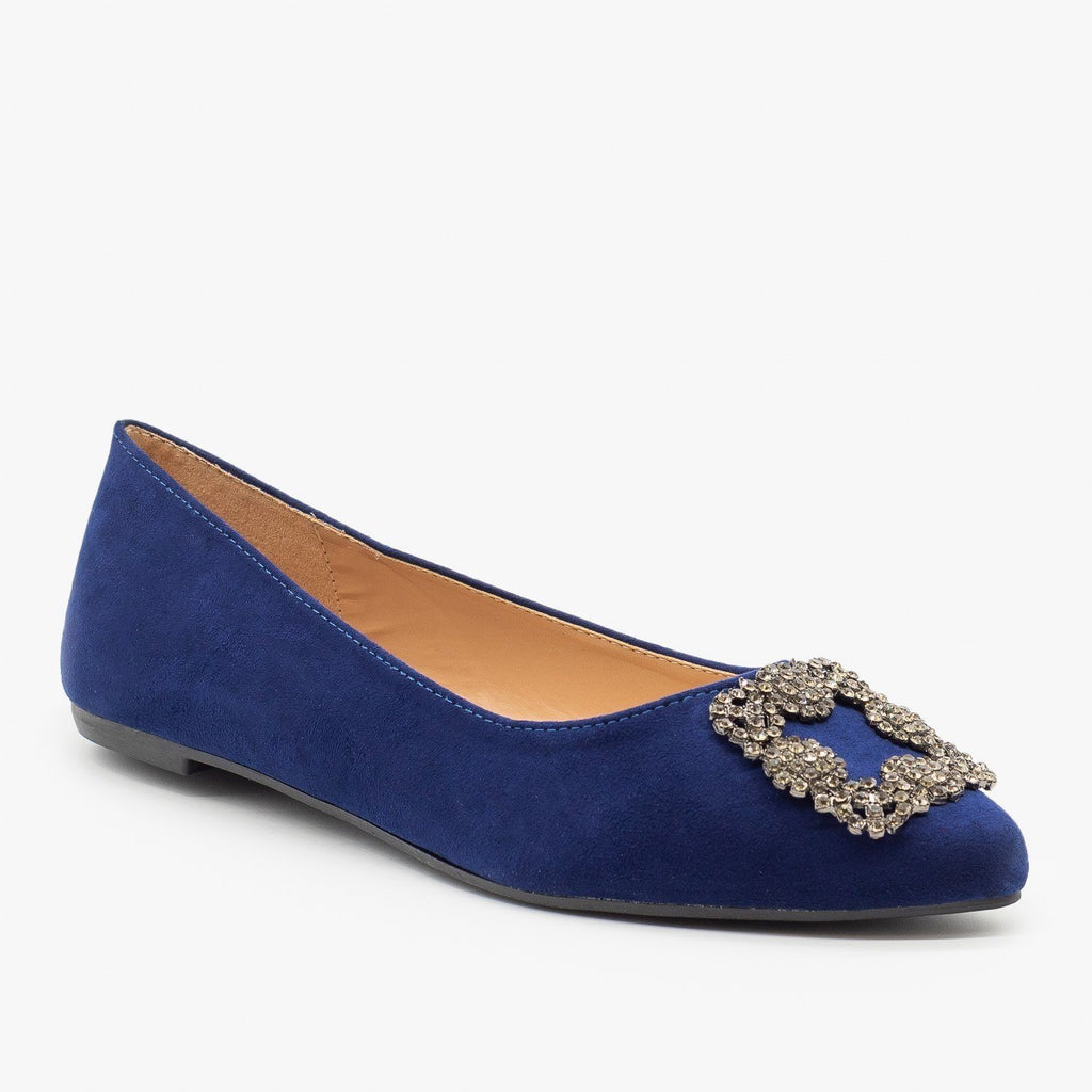 Womens Bedazzled Brooch Ballet Flats - Bamboo Shoes - Navy / 5