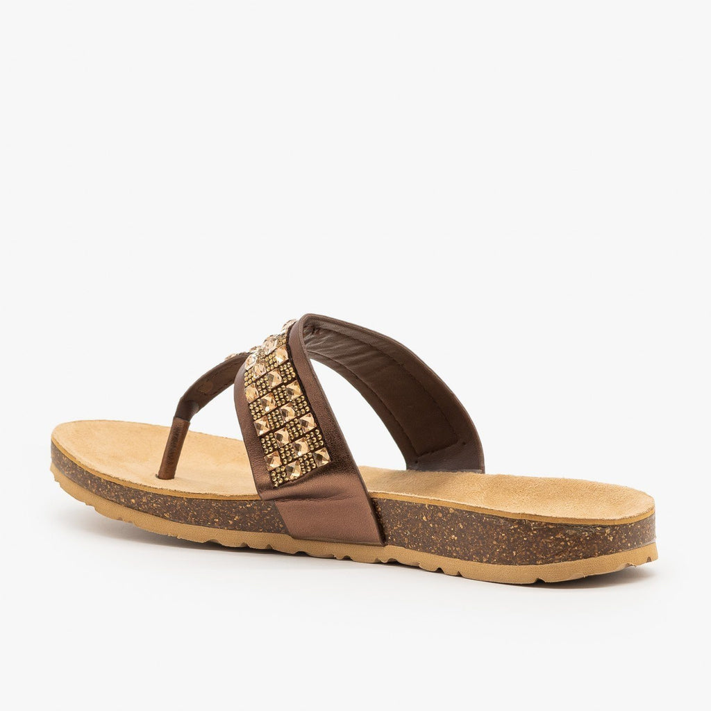 Womens Bedazzled Cork Sandals - Soda Shoes