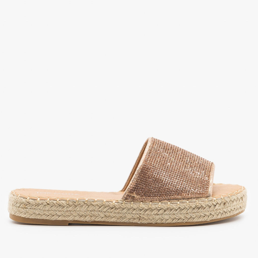 Womens Bedazzled Espadrille Sandals - Top Moda - Rose Gold / 5