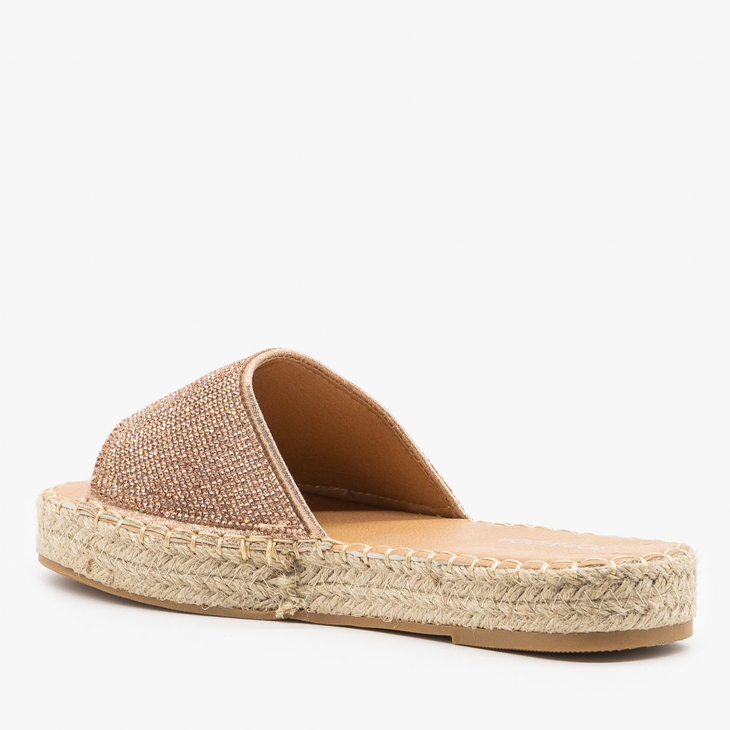 Womens Bedazzled Espadrille Sandals - Top Moda