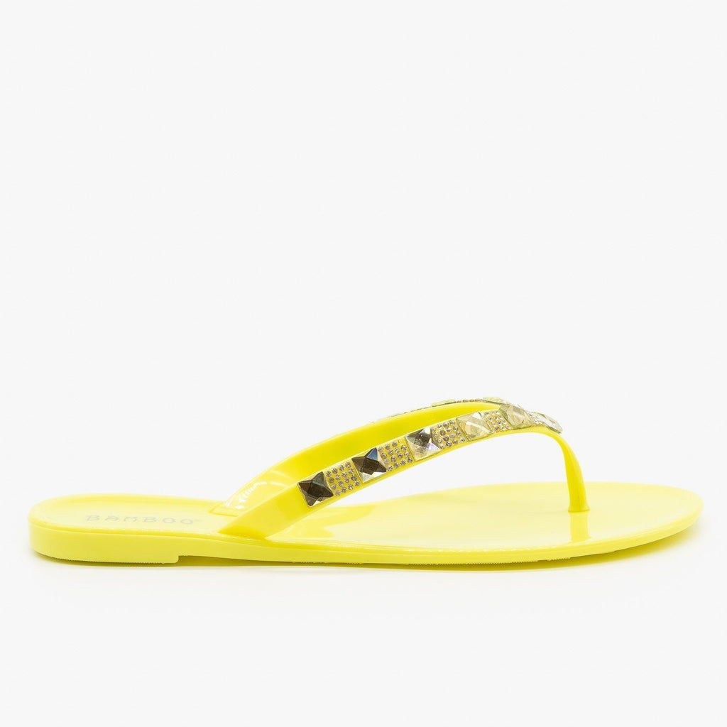 Womens Bedazzled Jelly Flip Flops - Bamboo Shoes - Lemon / 5