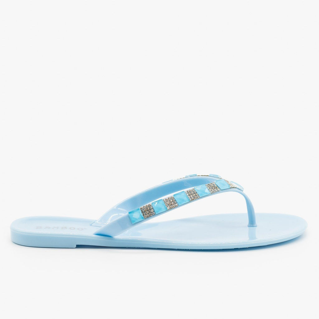 Womens Bedazzled Jelly Flip Flops - Bamboo Shoes - Pale Blue / 5