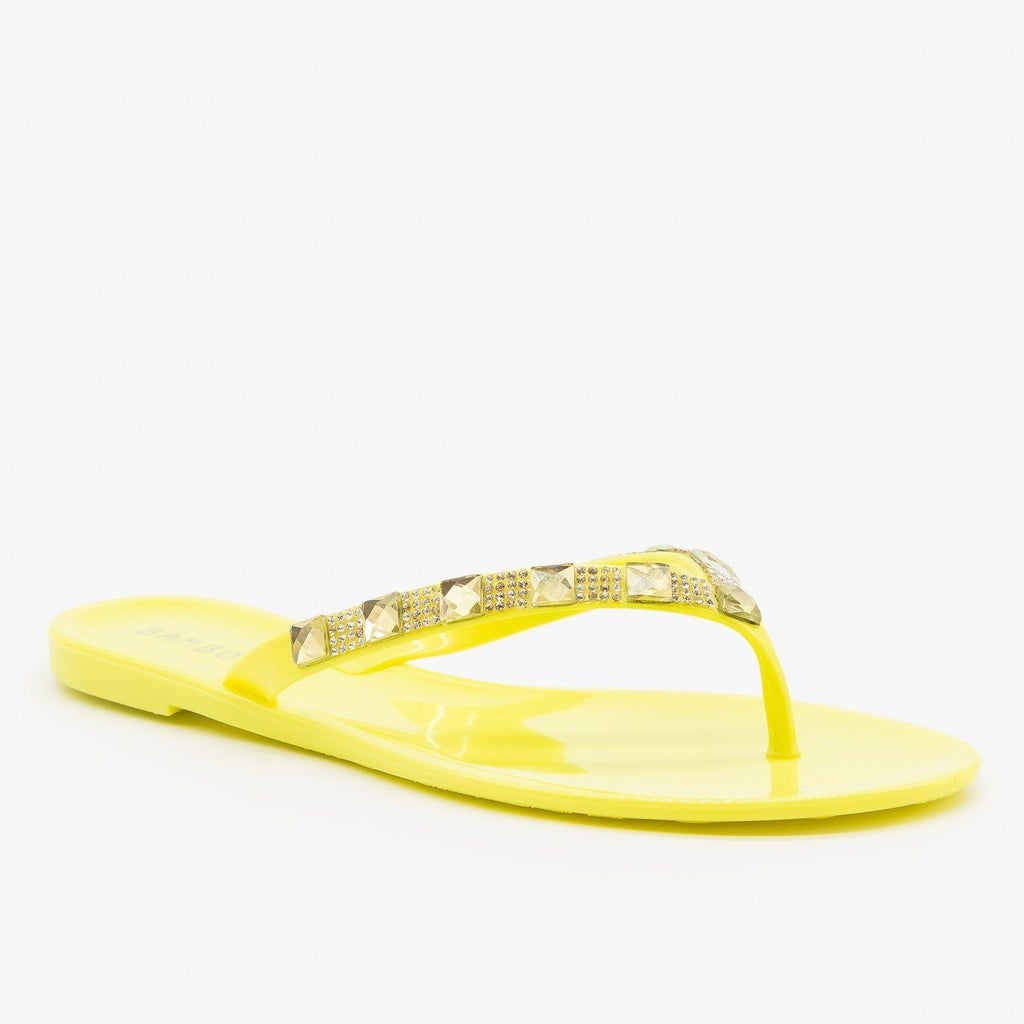 Womens Bedazzled Jelly Flip Flops - Bamboo Shoes
