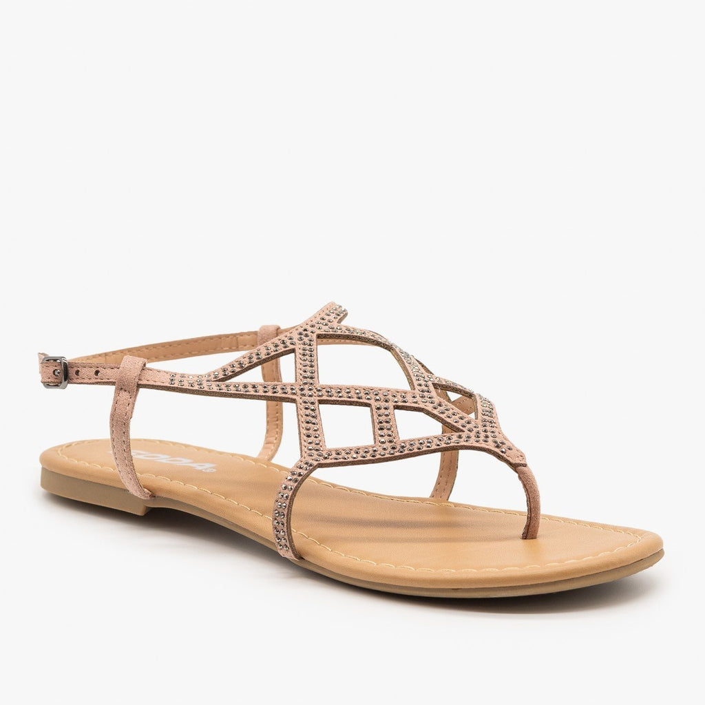 Womens Bedazzled Strappy Sandals - Soda Shoes - Blush / 5