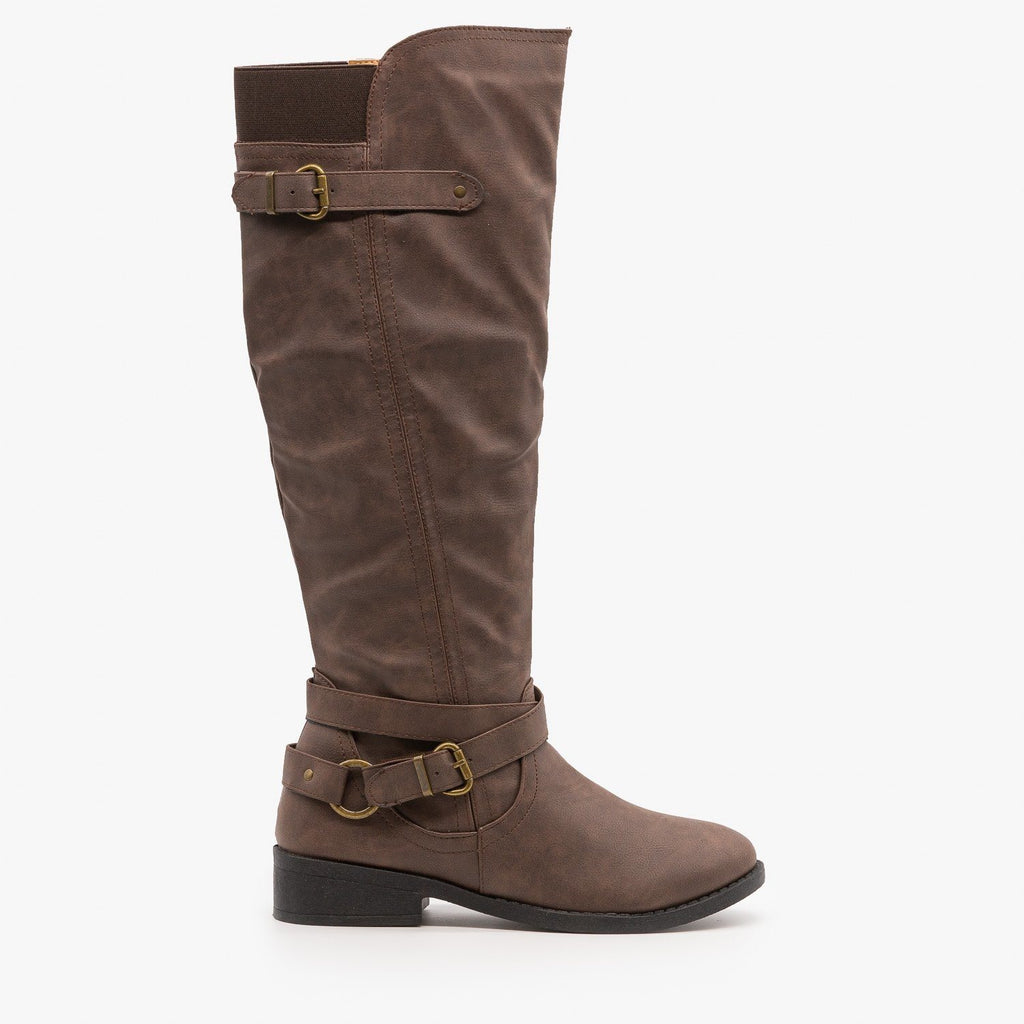 Womens Belt and Buckle Boots - Qupid Shoes - Dark Taupe / 5