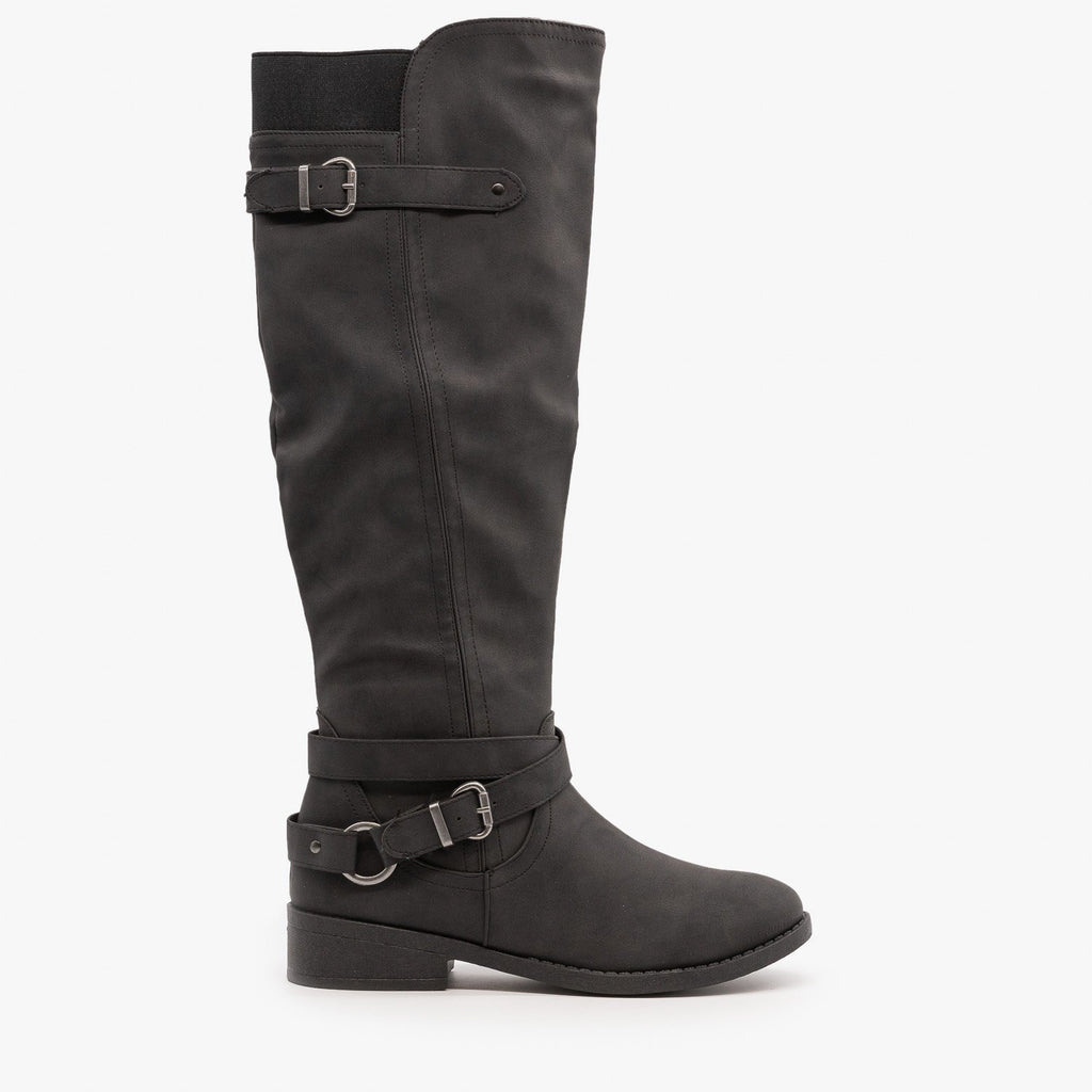 Womens Belt and Buckle Boots - Qupid Shoes - Black / 5
