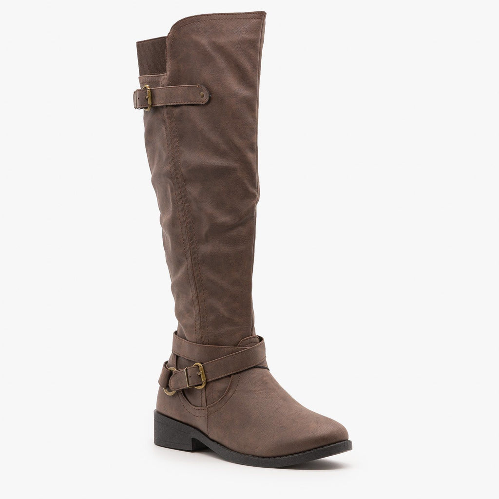 Womens Belt and Buckle Boots - Qupid Shoes