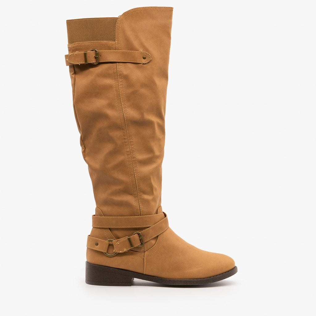 Womens Belt and Buckle Boots - Qupid Shoes - Toffee / 5