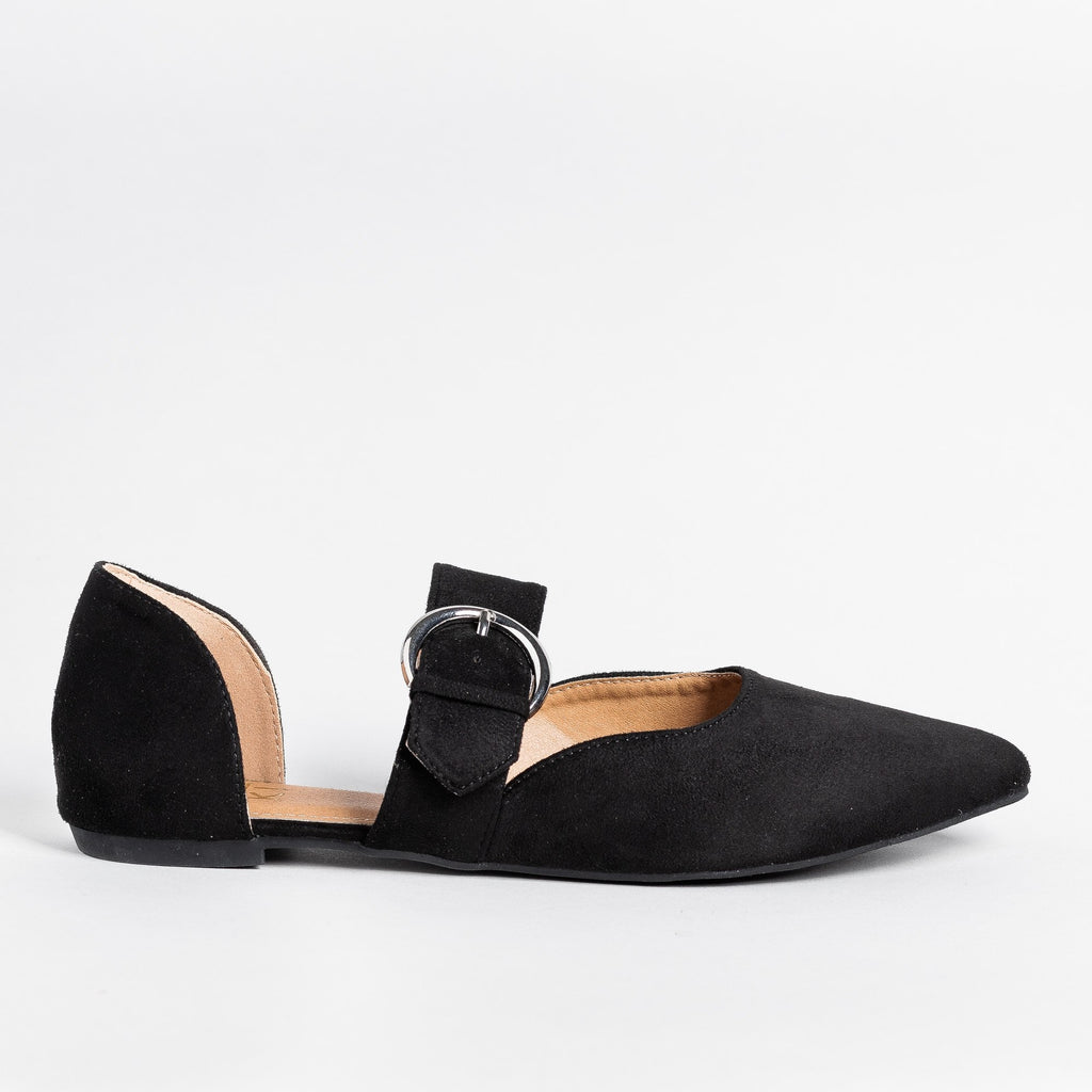 Womens Belt Buckle dOrsay Flats - Yoki - Black / 5