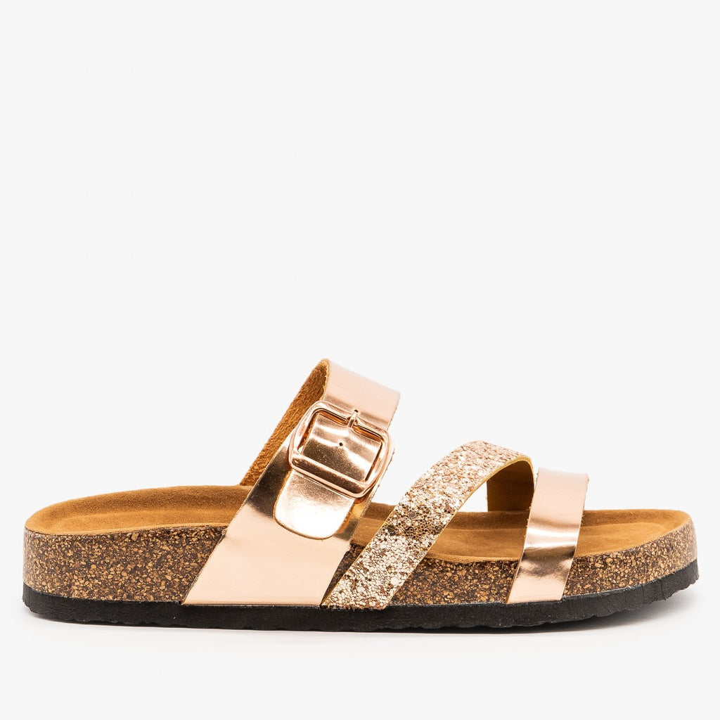 Womens Belt Buckle Glitter Sandals - Refresh - Rose Gold / 5