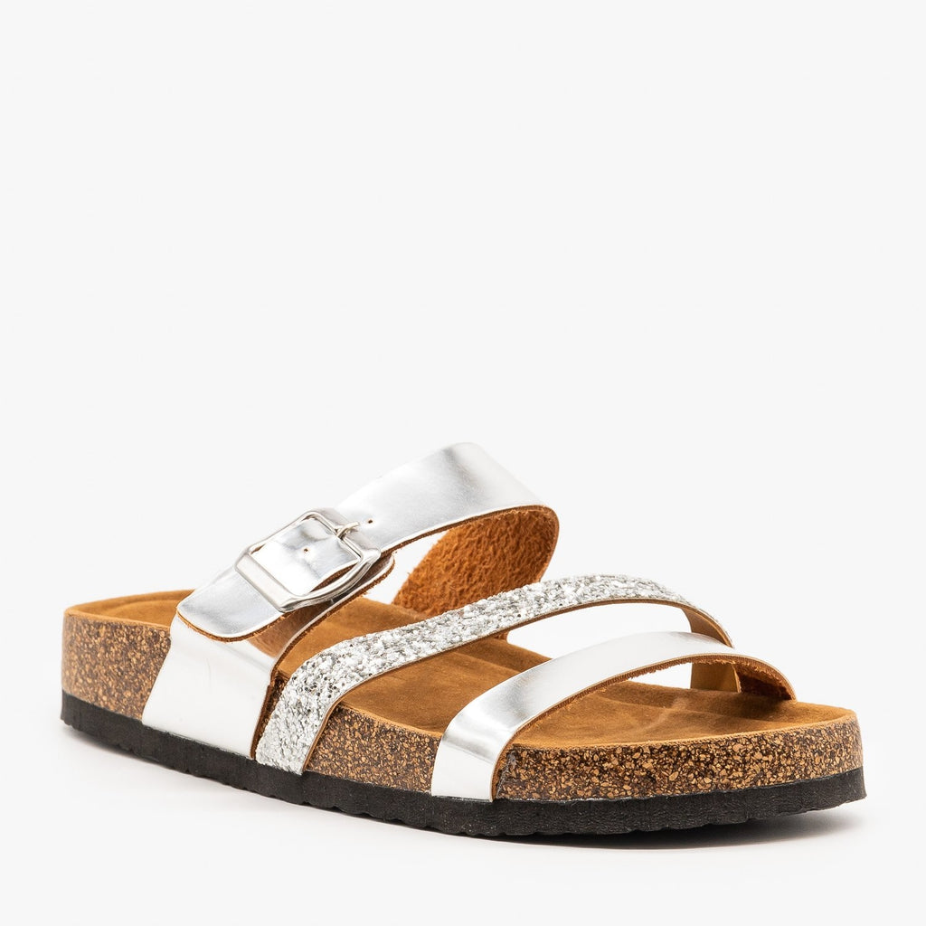 Womens Belt Buckle Glitter Sandals - Refresh