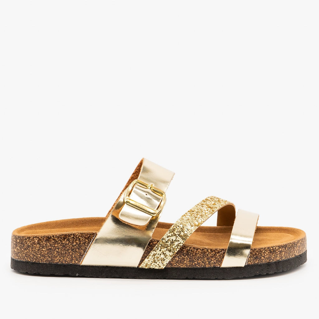 Womens Belt Buckle Glitter Sandals - Refresh - Champagne / 5