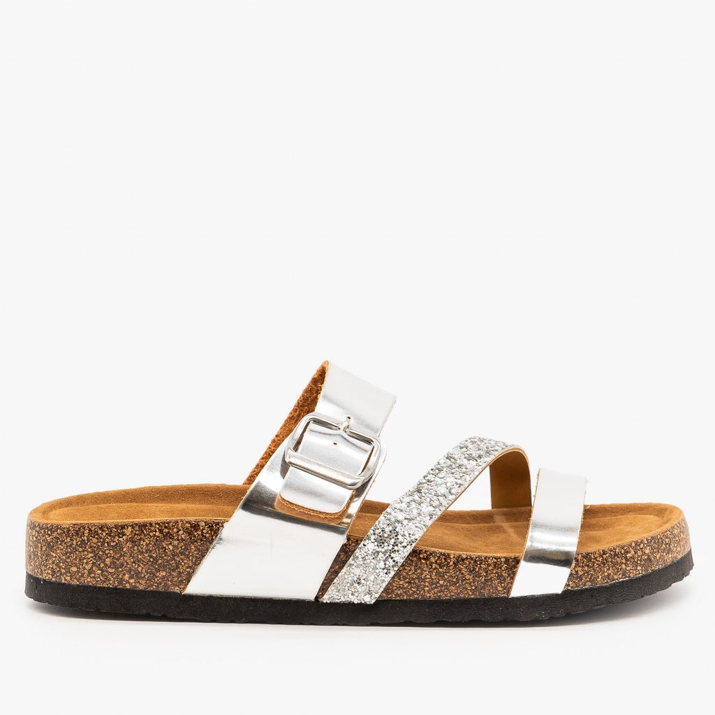 Womens Belt Buckle Glitter Sandals - Refresh - Silver / 5