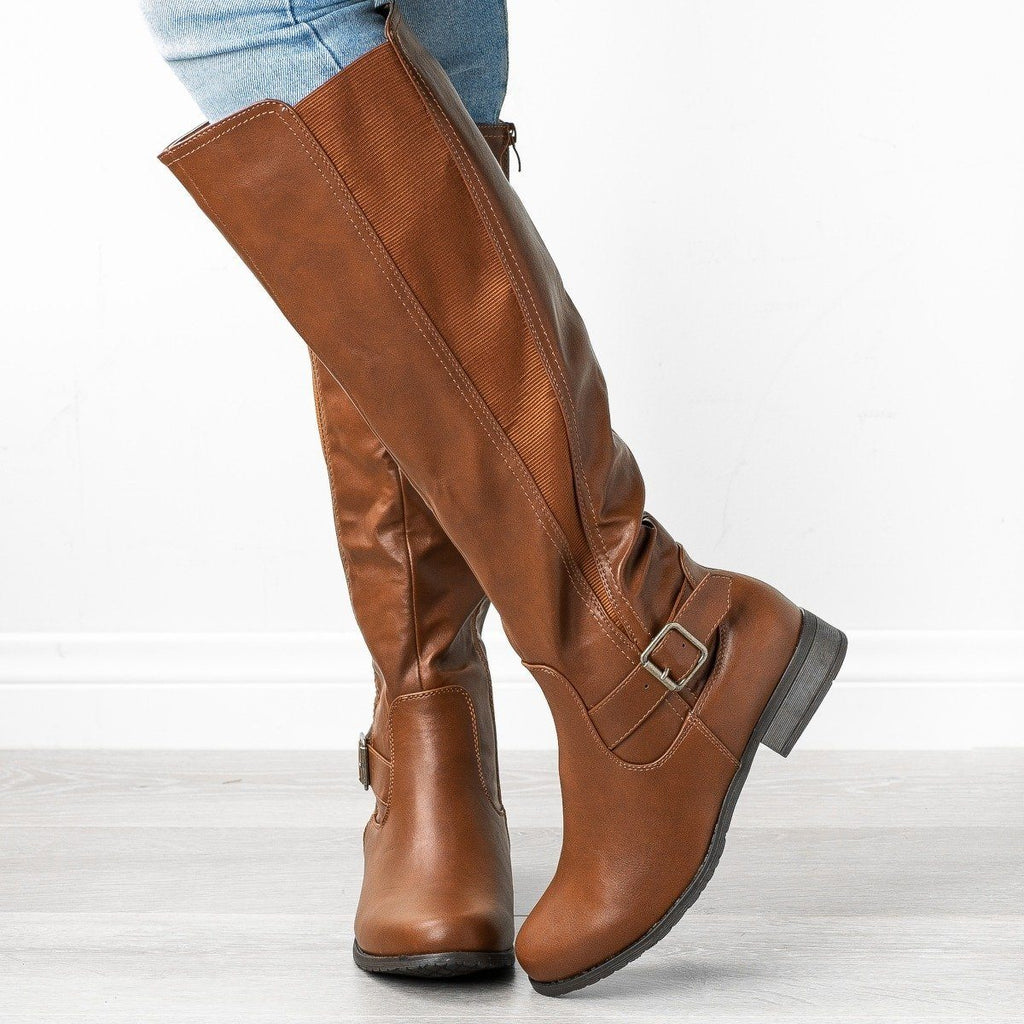 Womens Belt Buckle Riding Boots - Refresh - Cognac / 5