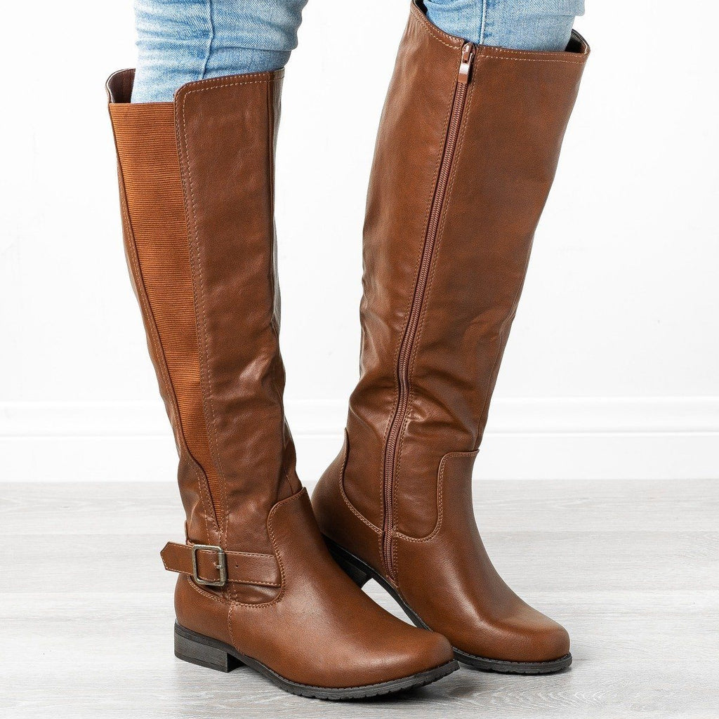 Womens Belt Buckle Riding Boots - Refresh