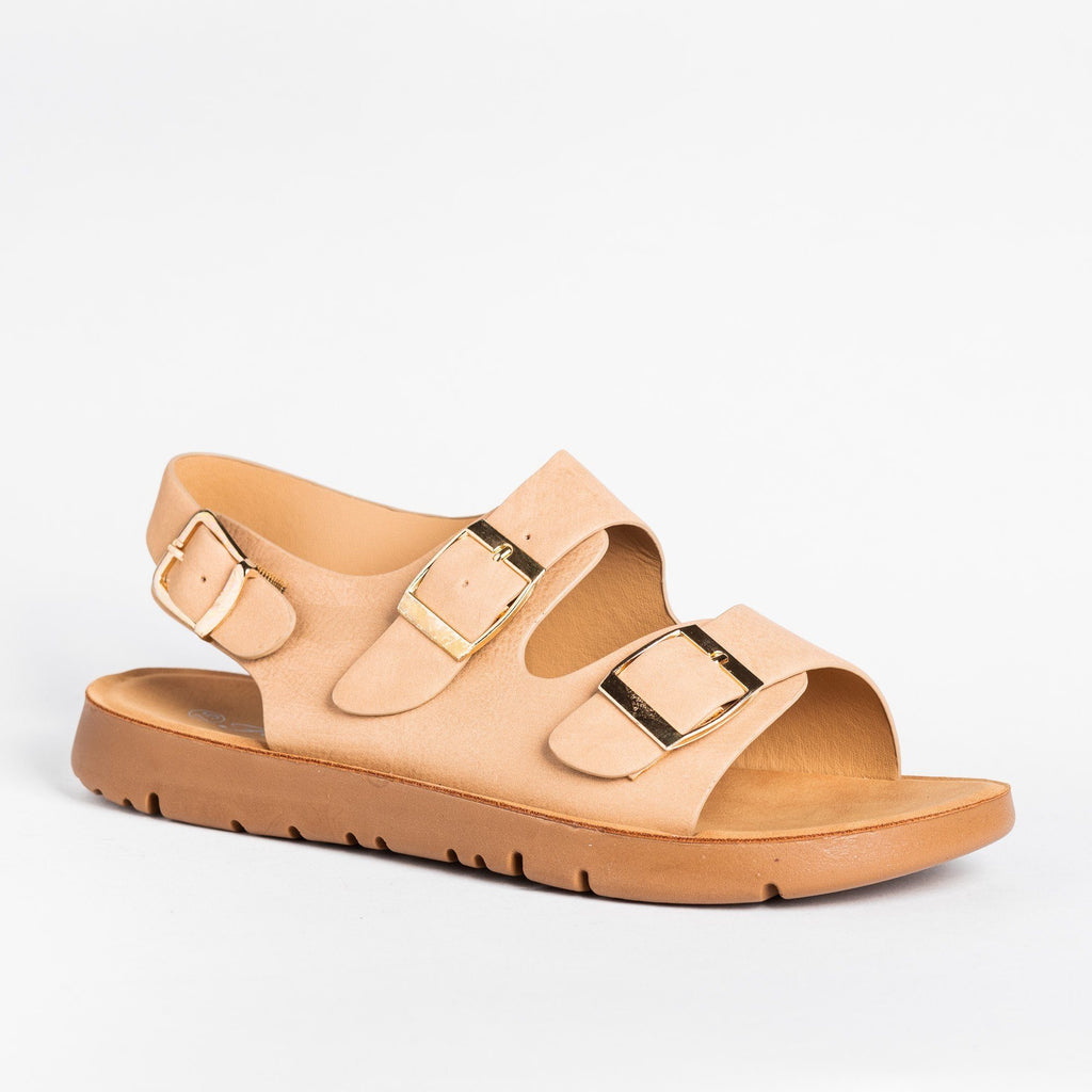 Womens Belt Buckle Slides - Forever - Taupe / 5