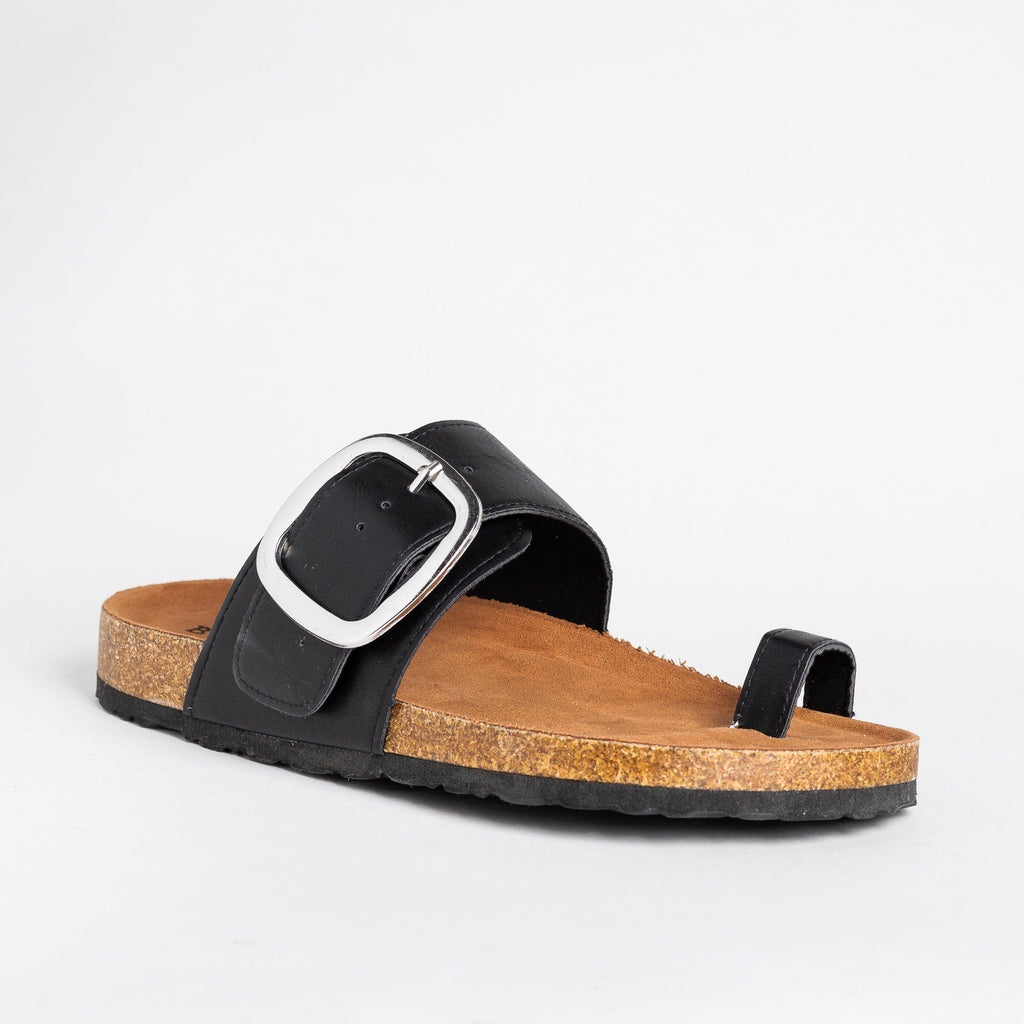 Womens Belt Buckle Toe-Hold Sandals - Bamboo Shoes - Black / 5