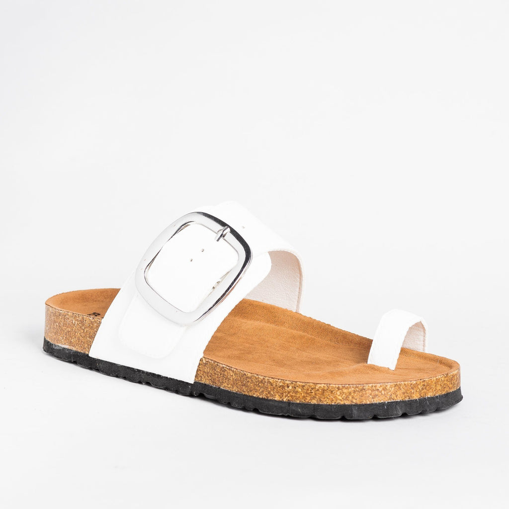 Womens Belt Buckle Toe-Hold Sandals - Bamboo Shoes - White / 5