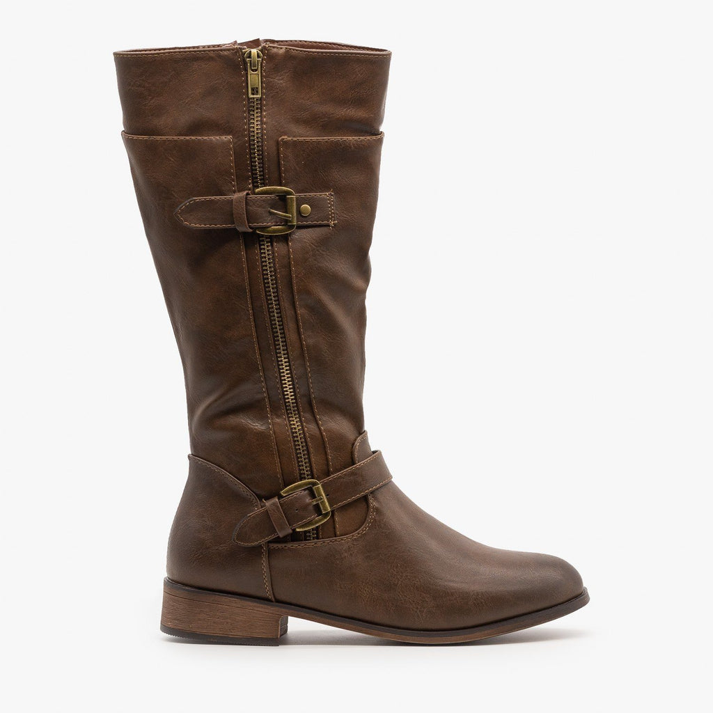 Womens Belt Buckle Zipper Boots - Mata - Brown / 5