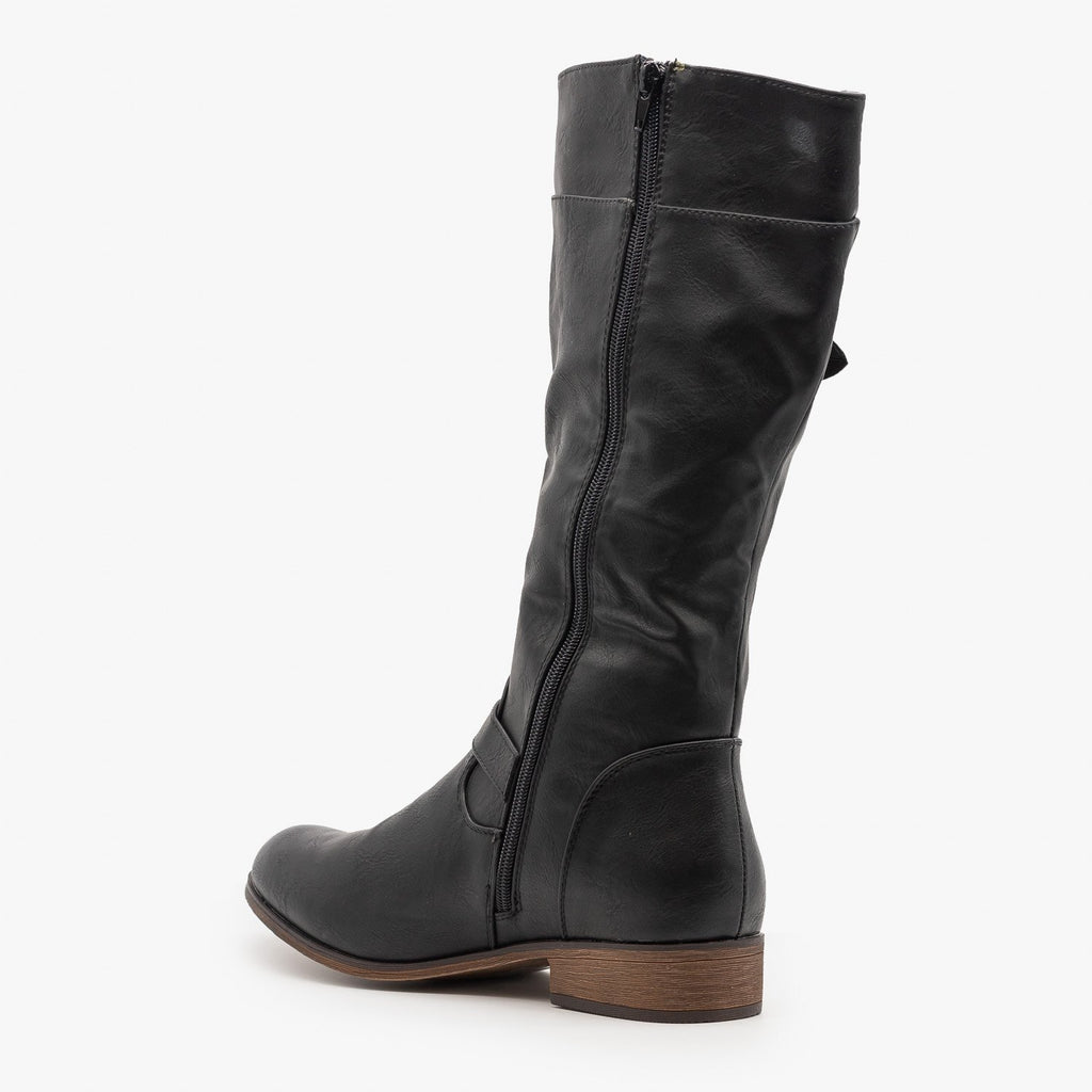 Womens Belt Buckle Zipper Boots - Mata