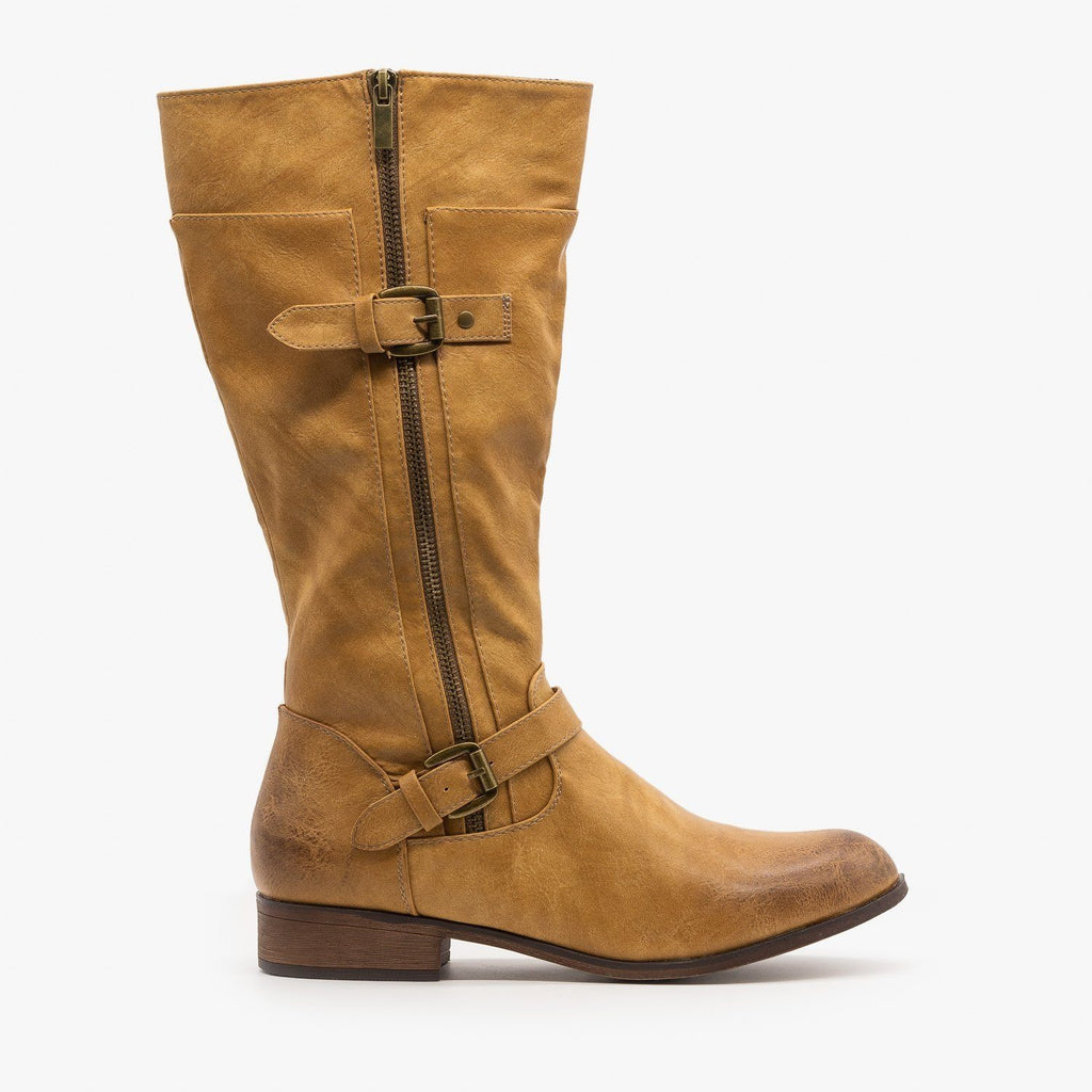 Womens Belt Buckle Zipper Boots - Mata - Beige / 5