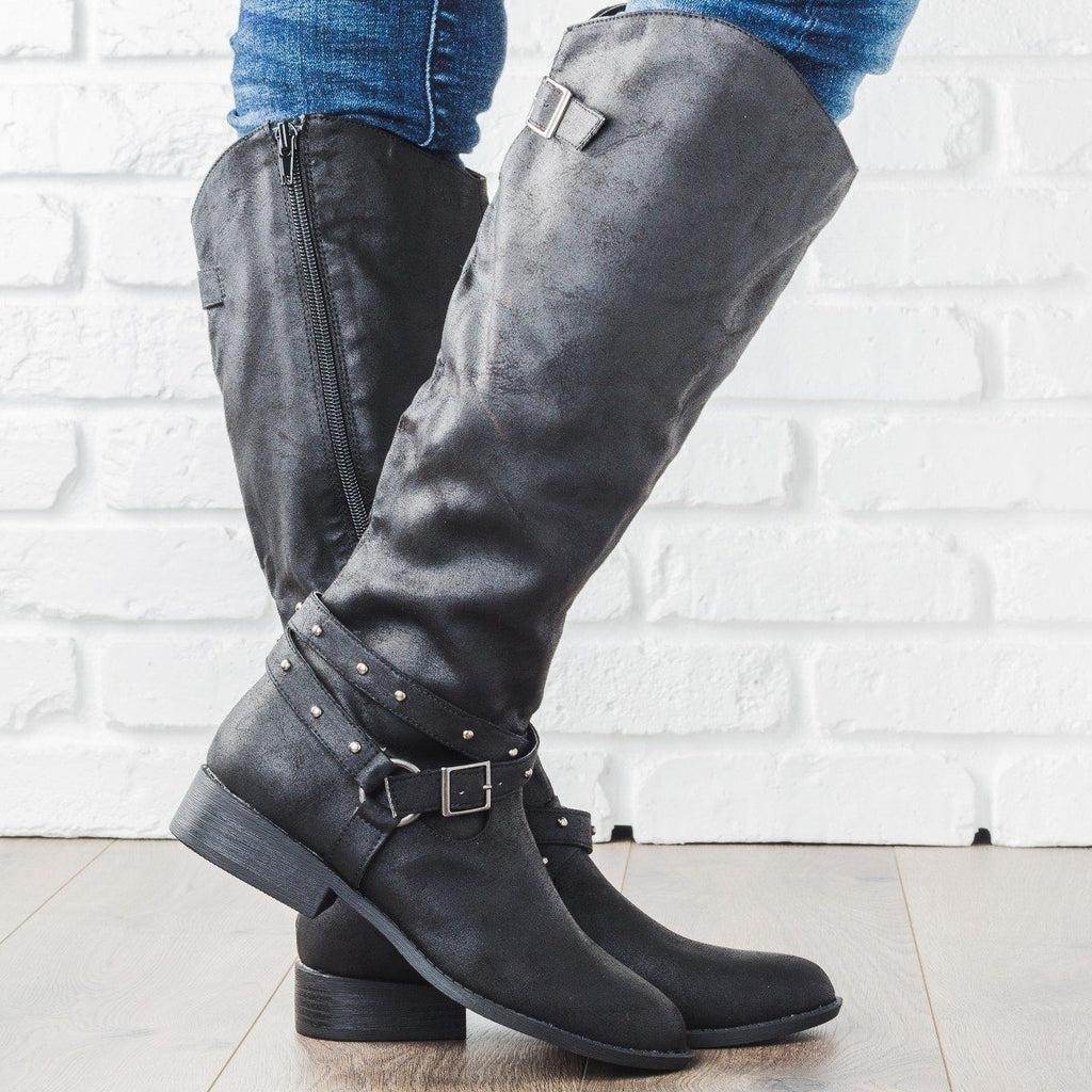 Womens Belt Studded Riding Boots - Qupid Shoes