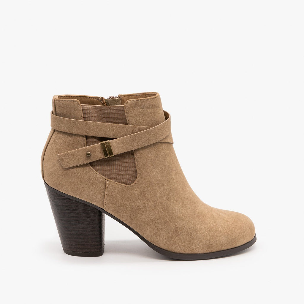 Womens Belted Ankle Booties - Soda Shoes - Light Taupe / 5