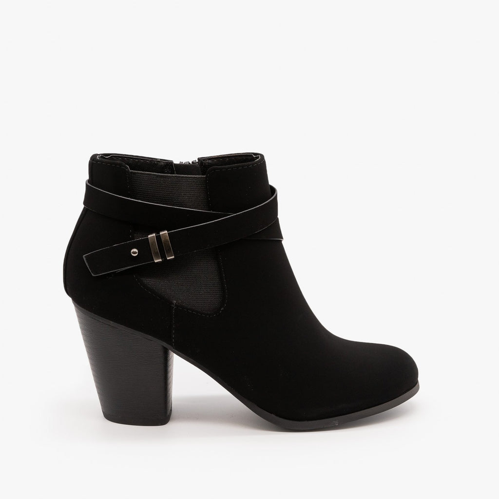Womens Belted Ankle Booties - Soda Shoes - Black / 5